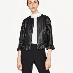 Zara Vegan Leather Jacket with Ruffles